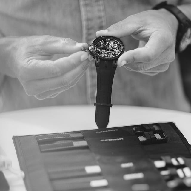 Roger Dubuis care & maintenance watch being cleaned