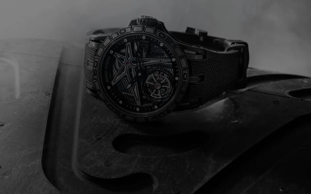 Roger Dubuis Excalibur collection watch on a Pirelli tire