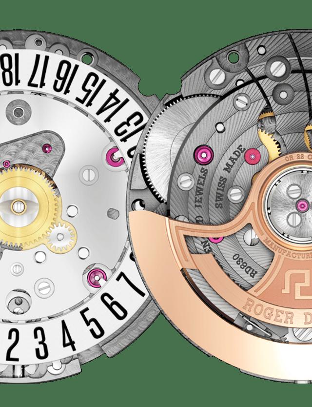 Roger Dubuis font and back RD830 caliber details