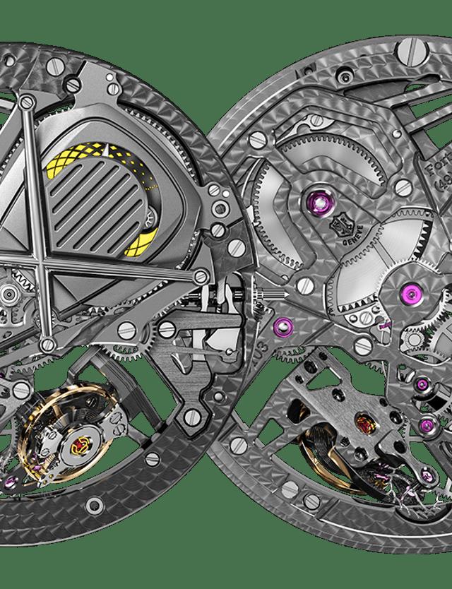 Roger Dubuis, vue sur les détails de face et arrière du calibre RD103SQ