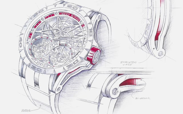 Roger Dubuis Manufacture Excalibur watch sketch